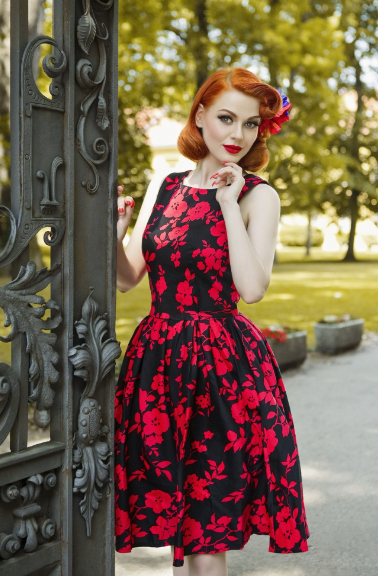 Annie Retro Floral Swing Dress in Black & Red
