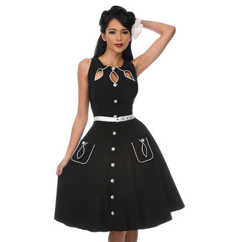 Black with White Piping Rockabilly Shirt Dress