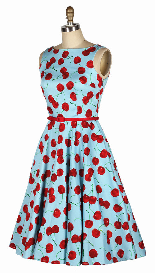 Bleu Cherry Print Rockabilly Shirt Dress
