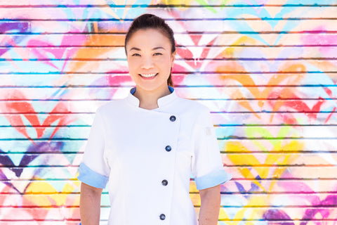 Top Chef Shirley Chung  in Crew Apparel Stephany Chef Coat