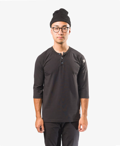 Crew Apparel All Day Henley chef shirt Black Chef Uniform Fitness Clothing