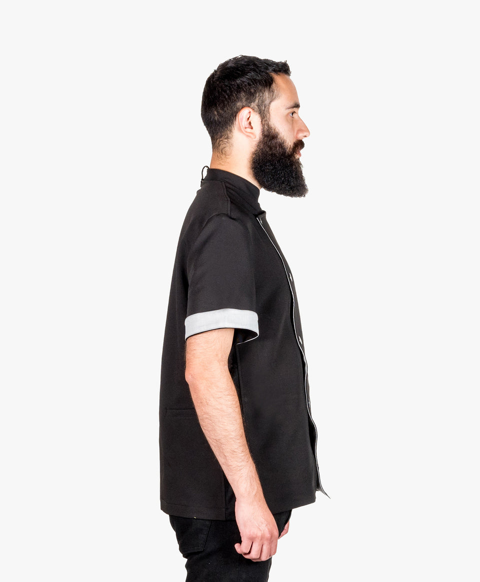 Crew Tech Stretch Fabric Hipster Chef Coat Black