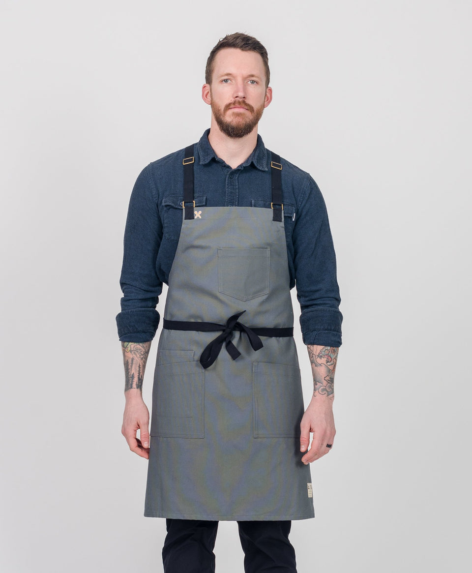 Crew Apparel Grey Apron Chef Canvas Black Strap