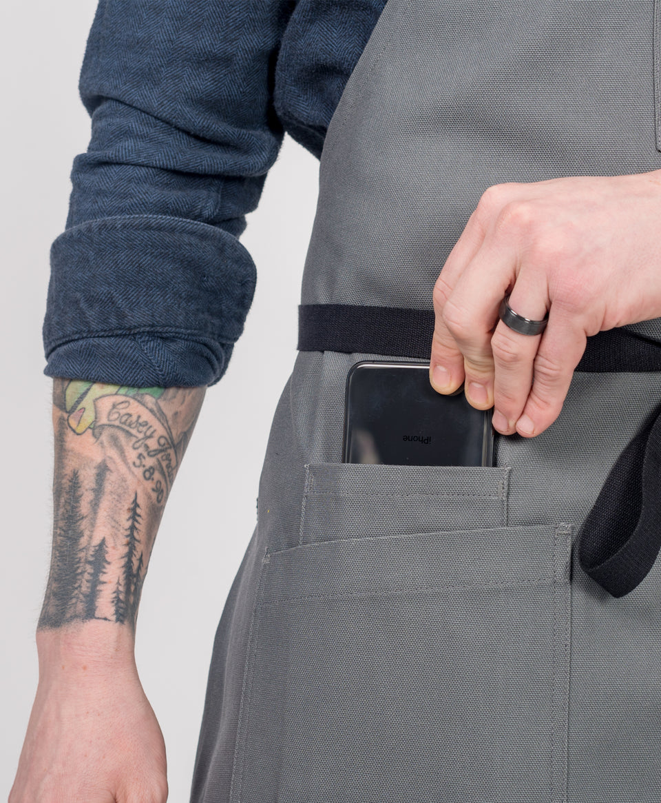 Crew Apparel Phone pocket Apron Grey Canvas