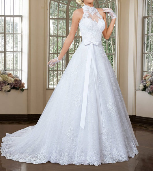Elegant A Line High Neck Wedding Dress with Detachable Skirt