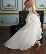 Hi Low Wedding Dress with Lace Up Back Wedding Gowns
