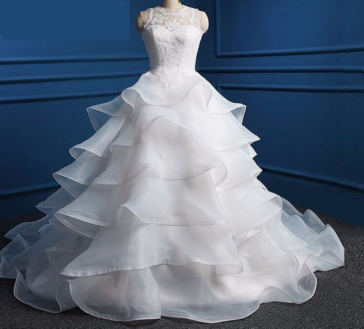 Wedding Dress White Ivory Wedding Dresses with Ruffles Cut Out Back