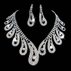 Bling teardrop Necklace and Earring set For Brides and Bridal Party