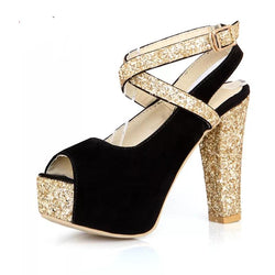 Bling Bridal sequined platform  Heels Ankle strap Wedding Pumps