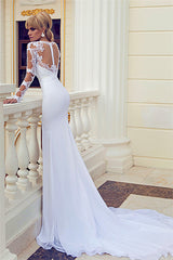 High Slit Chiffon wedding Bridal  Dress Lace Top Mermaid Bridal Gowns