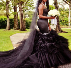 Black Mermaid Wedding Dress Vintange gothic Sweetheart Wedding Gowns