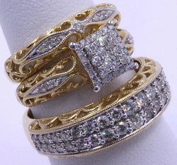 3 piece wedding  Ring Set  for wedding engagement bride