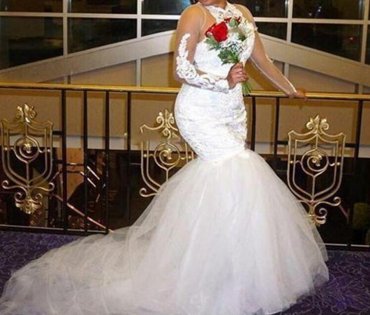 Mermaid Illusion Long Sleeve wedding gown Beaded Plus Size Bridal Gown