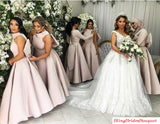 Satin Ankle Length Bridesmaid Gowns Wedding Party Dresses With Big Bow