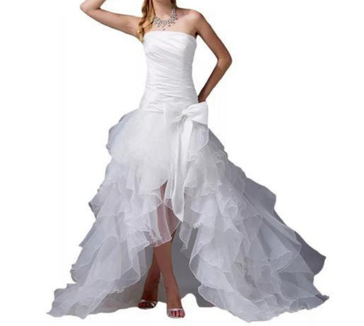 Hi Low ruffled Wedding Dress Lace Up Back Wedding Gowns