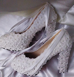 Bling Bridal Lace Pearls and Ribbons wedding pumps  bridal shoes