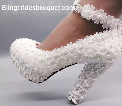 Bling Bridal Pearls and Lace wedding pumps  snkle strap bridal shoes
