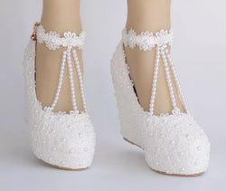 Bling Bridal wedding pumps wedge heel  snkle strap bridal shoes