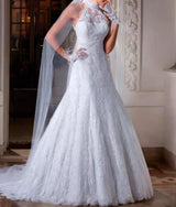 Vintage High Neck Long A-Line  Bridal Gown