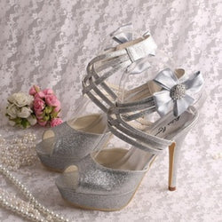 Bling Bridal Wedding Shoes Criss Cross ankle strap  Bridal Heels
