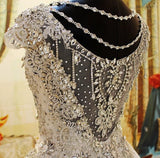 Bling Crystal Beaded Wedding Dress A Line Crystal Bridal Gowns