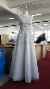 Lace Embroidery Long Prom Dresses Sheer Back Pearls Formal Evening Party Dresses