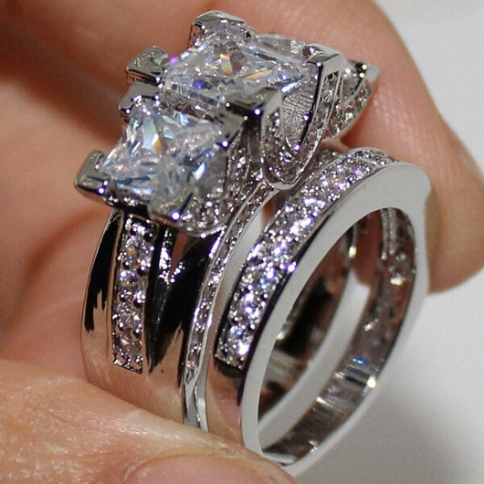 Bling Silver Square Paved Three-stone Wedding 2-in-1 Band Ring Sets