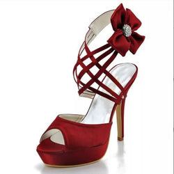 Bling Bridal Sandals /Ankle strap Wine red Satin Wedding Shoes