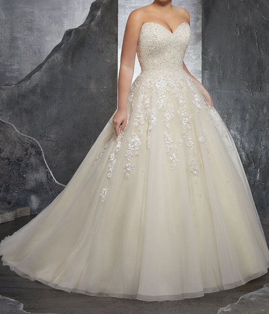 Elegant Ball Gown Wedding Dress at Bling Brides Bouquet online Bridal Store