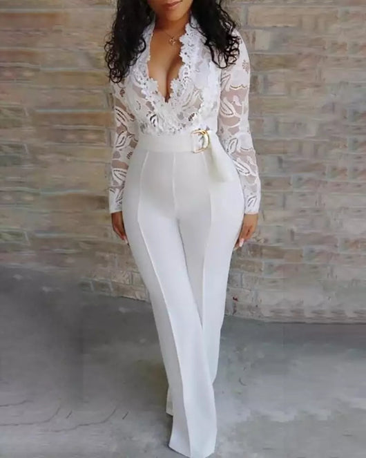Elegant lace.V neck Wedding Jumpsuit Long Sleeve Bridal engagemnt Party romper