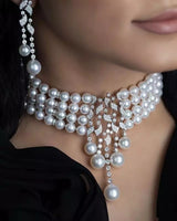 Luxury Crystal and pearl Wedding Jewelry Sets for brides