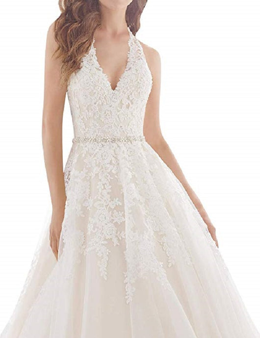 Sexy Wedding Gown  Halter Crystals Waist Lace Appliques Wedding Dress