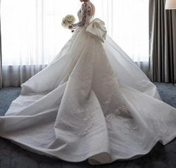 Bow back Detachable Train Mermaid Bridal Gown