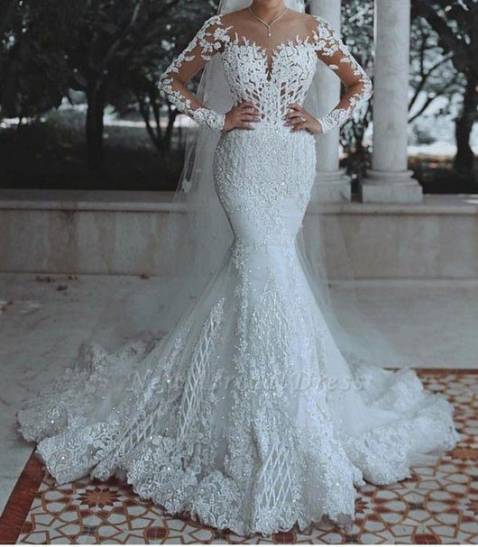 Elegant  Lace  Mermaid Wedding Dress With long Sleeves