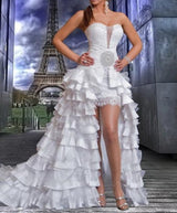 High Low Wedding Dresses Crystal And Ruffle Lace Bridal Dresses