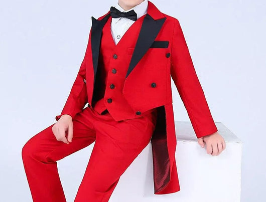Boys red and black wedding Tuxedo ring bearer wedding suit
