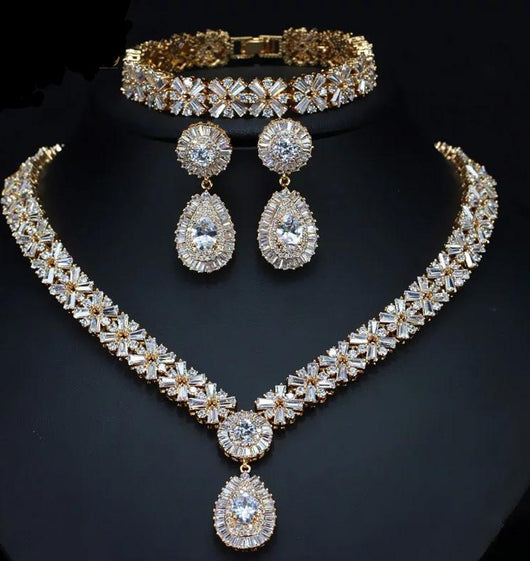 Wedding Crystal Bridal Necklace jewelry set For Brides