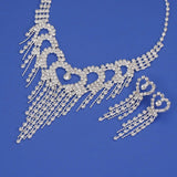 Bling tasseled hearts Necklace and Earring set For Brides and Bridal Party