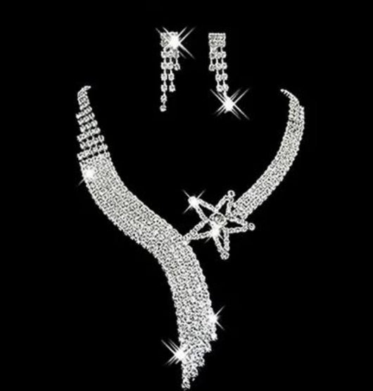 Bling star Necklace and  Earring set For Brides and Bridal Party