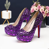 14cm Bling crystal Wedding  shoes Closed toe women's high heels