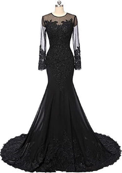 Black Mermaid Wedding Dress gothic Wedding Gown