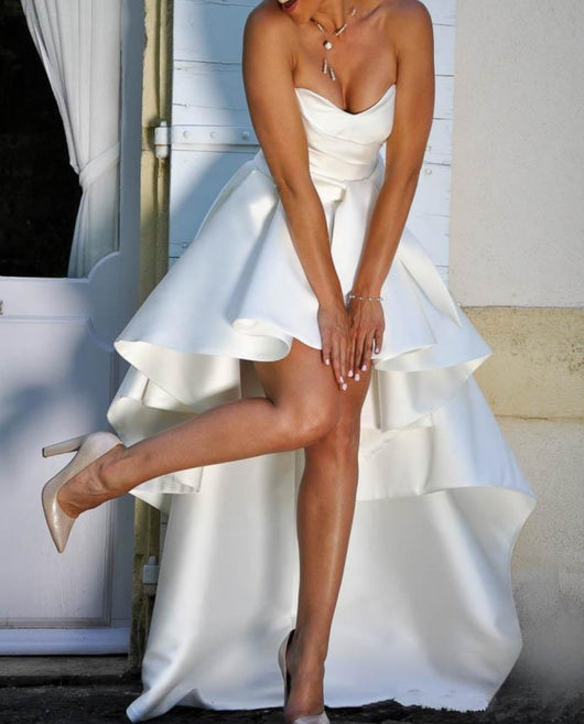 New High Low satin Wedding Dresses with  Lace Up Back high low Beach Bridal Gowns
