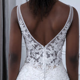 Bling Lace Mermaid V-Neck Wedding dress, Sexy Sleeveless Bridal Gown