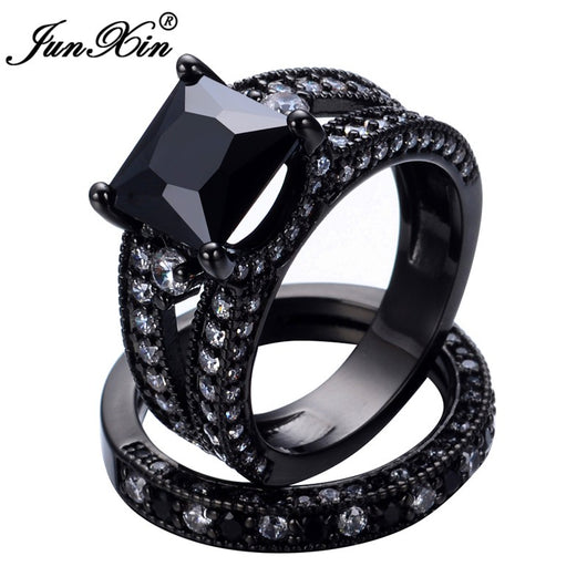 Gothic Wedding Rings.Black Zircon Ring Sets Gothic Wedding Rings For Women