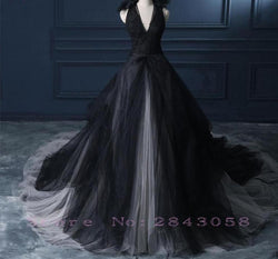 Black Halter Ball Gown  Wedding Dress Vintage gothic Wedding Gowns