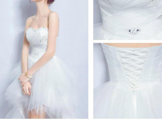 High low wedding dress crystal beaded corset back bridal wedding gown