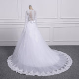 Two Pieces Lace A LINE Wedding Dresses with Detachable Train
