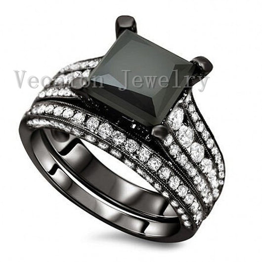 Black Wedding Band Ring Set for Women 4ct  5A Zircon ring