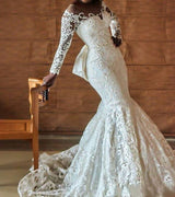 Elegant Mermaid Lace Wedding Dress Bridal Gown with  Long lace Sleeves