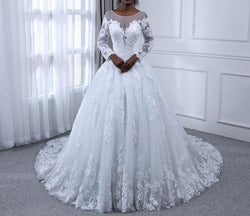 Bling Ball Gown Wedding Dresses Lace Pearls Long Sleeves Bridal Gowns